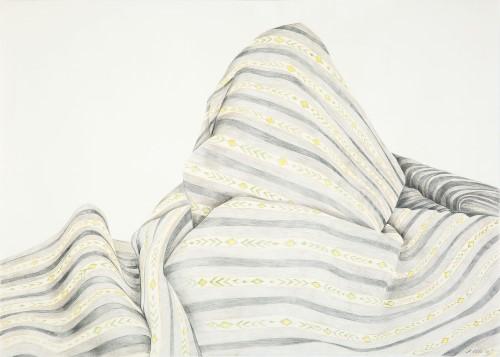 Anja Luithle, Ohne Titel ( grau gestreift), 2015, Buntstift auf Papier, 70 x 100 cm